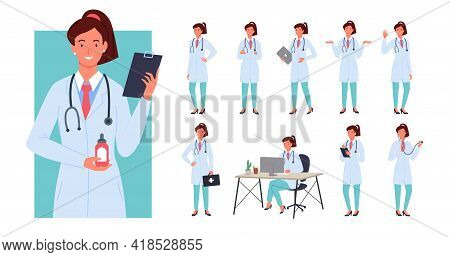 Doctor Female Poses Infographic Set, Young Woman Doctor Standing With First Aid Bag
