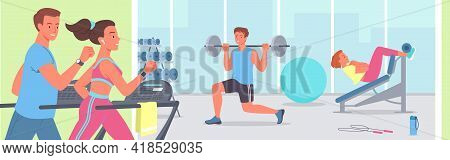 People Doing Sports Workout In Gym Vector Illustration. Cartoon Active Young Sportive Woman Man Char