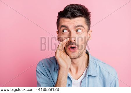 Photo Portrait Of Young Man Looking Copyspace Telling Rumor Whispering Quietly Isolated Pastel Pink