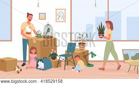 Happy Family Relocate, Father, Mother And Children Moving To New House Or Home Apartment