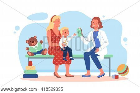 Happy Family On Pediatrician Checkup, Doctor Woman And Kid Boy Patient Playing Together