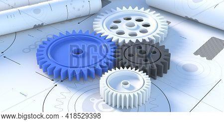 Plastic Gears Concept.blueprint Plan Background. 3D Illustration