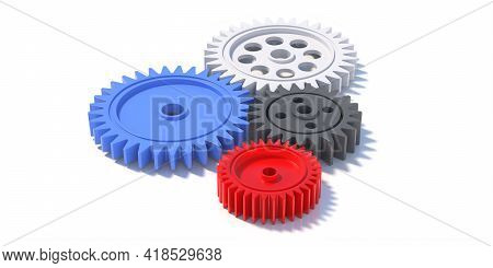 Four Plastic Gears Isolated On White Background. 3D Illustration