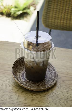 Iced Coffee Drink In Disposable Take Away Cup, Stock Photo