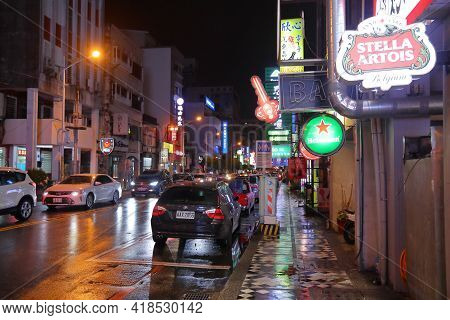 Hualien, Taiwan - November 24, 2018: Night City View Of Hualien, Taiwan. Hualien Is One Of The Bigge
