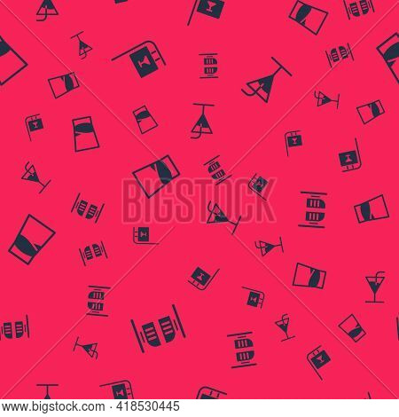 Set Saloon Door, Street Signboard With Bar, Glass Of Vodka And Cocktail On Seamless Pattern. Vector