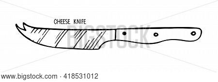 Cheese Knife Isolated On White Background. Stainless Steel Kitchen Knife For Cheese Sketch. Special