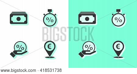 Set Cash Location, Stacks Paper Money Cash, Discount Percent Tag And Stopwatch And Icon. Vector