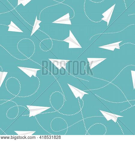 Seamless Pattern With Paper Planes Aircraft. Flying Aircrafts On Blue Background. Vector Background