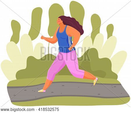 Girl Runs In Park. Morning Running Of Sportswoman In Fresh Air. Sports Activity And Healthy Lifestyl
