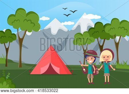Group Of Happy Tourists Or Backpackers Standing Beside Tent. Camping In Forest, Adventure Tourism, B