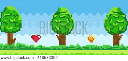 Pixel Art Game Background With Trees, Ground, Grass And Sky. Pixelated Interface With Symbols. Objec