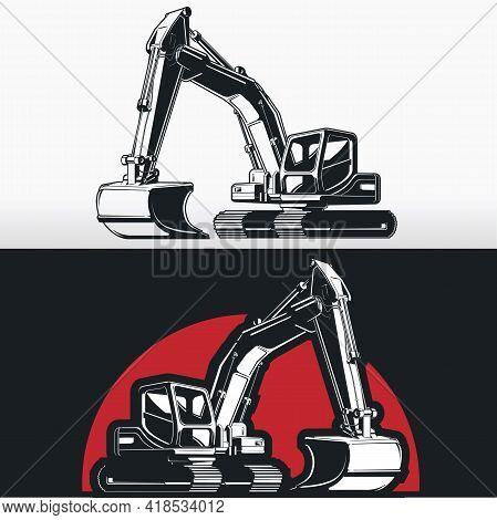 Silhouette Excavator Backhoe Digger Construction Shovel Stencil Vector