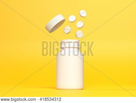Pills Fly Out Of The Bottle On Yellow Background With Pharmacy And Explosion Concept. Minimal Creati