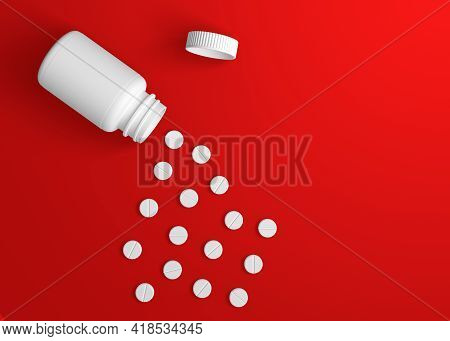 Pills With A Pharmacy Bottle On Red Background. Minimal Creative Idea. 3d Rendering Illustration