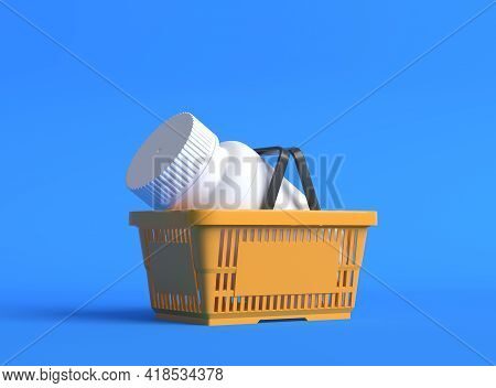 White Pill Bottle In A Orange Plastic Shopping Basket On Blue Background With Copy Space. Medicine C