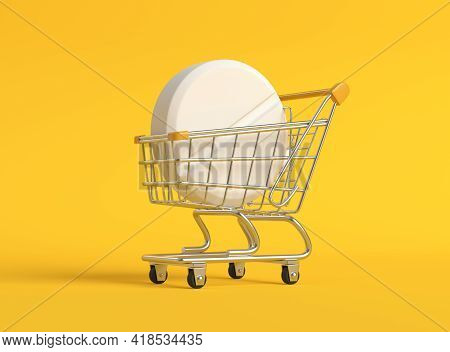 Pharmaceutical Medicine Pills, Tablets And Capsules In A Metal Shopping Cart On Yellow Background Wi