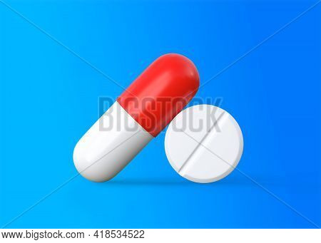 Pharmaceutical Medicine Pills, Tablets And Capsules On Blue Background. Medical Concept. 3d Renderin