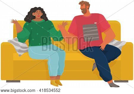 Young Couple Quarreling. Shout At Each Other. Man And Woman In Bad Relationship. Arguing, Reprimandi