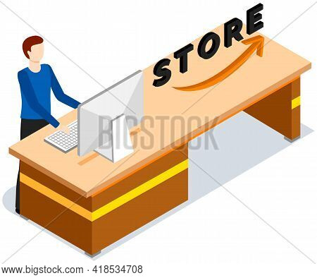 Cashier Counter With Employee, Giving Convenience Service For Customer, Coming To Shopping At Store.