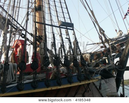 Front Section  Of Replica Of Tall Ship Showing Mast, Riggings & Ropes.
