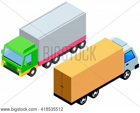 Delivery Trucks Isolated On White Background. Wagons With Trailers For Transporting Goods Worldwide.
