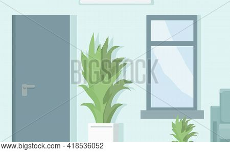 Cartoon Background Of Corridor Or Office With Window, Plant In Ceramic Pot And Closed Door. Indoor F