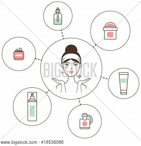 Hand Drawn Girl Take Care About Her Face Smearing With Cream. Doodle Style Vector Illustration Isola