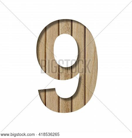 Font On Light Wood. The Digit Nine, 9 Is Cut Out Of Paper On A The Background Of Vertical Wood Plank