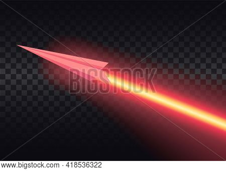 Flying Airplane With Luminous Air Route On Black Background. Aircraft Flies And Leaves Bright Glowin