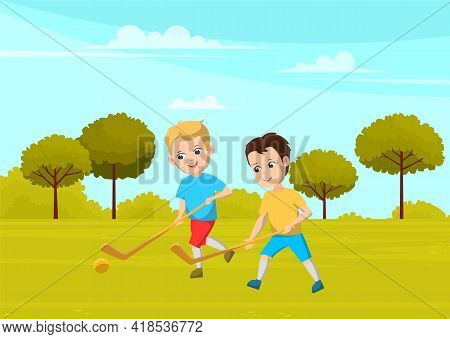 Sport School Club, Young Boys Playing Field Hockey On Grass With Sticks And Ball. Team Game For Acti