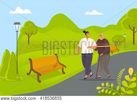 Old Man Leans On Stick And Walks With Woman In Park. Girl Take Care Of Man From Nursing Home. People