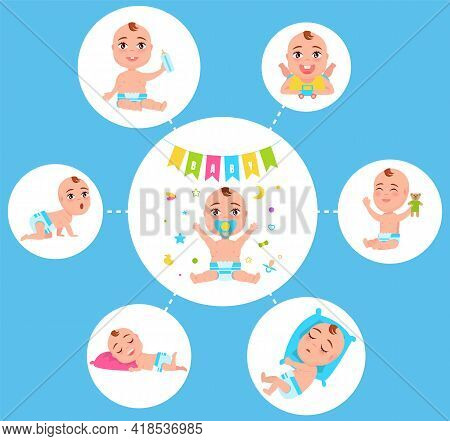 Infant Newborn Baby Set In Different Activity Isolated On White. Child Small Boy And Girl Cute Littl