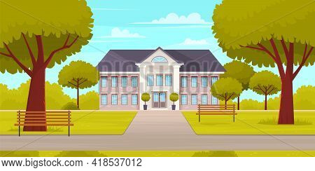 Business Building In Green Recreation Park Zone. Downtown Office With Big Central Entrance And Green