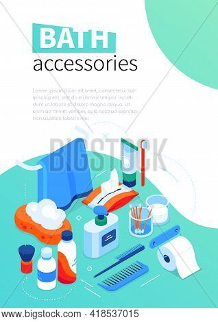 Bath Accessories - Modern Colorful Isometric Web Banner