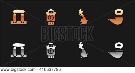 Set Stonehenge, Big Ben Tower, England Map And Smoking Pipe Icon. Vector