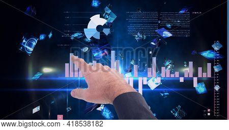 Composition of man touching virtual screen with statistics and data processing. global connections, data processing and technology concept digitally generated image.