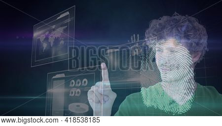 Composition of man touching virtual screen with biometric fingerprint and data processing. global connections, data processing and technology concept digitally generated image.