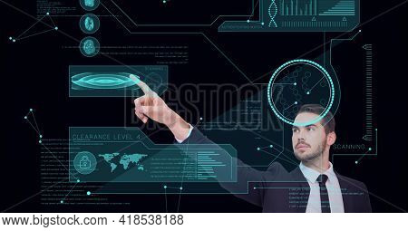 Composition of man touching virtual screen with scope scanning and data processing. global connections, data processing and technology concept digitally generated image.