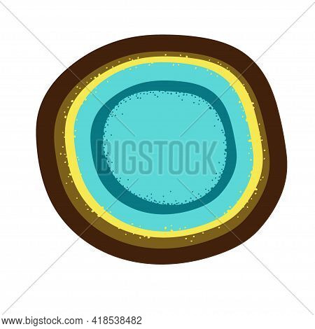 Handmade Handcraft Ceramic Plate With Irregular Edge. Interior Home Decor, Vector Illustration. Hous