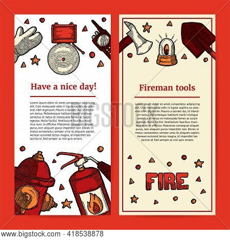 Illustration Of Fireman Tools With Copyspace. Template For An Article Or Web Banner With Space For T