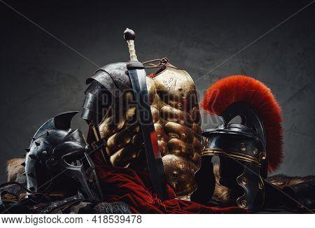 Suit Of Armor Of Roman Legionary And Gladiato