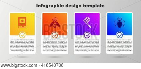Set Book About Insect, Bee, Butterfly Net And Beetle Deer. Business Infographic Template. Vector