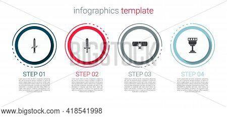 Set Dagger, Medieval Sword, Decree, Parchment, Scroll And Goblet. Business Infographic Template. Vec