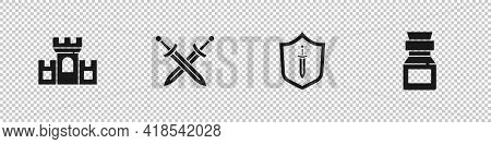 Set Castle, Fortress, Crossed Medieval Sword, Medieval Shield With And Poison In Bottle Icon. Vector