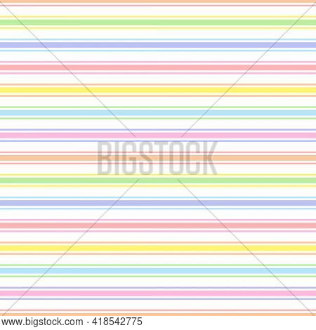 Rainbow Seamless Horizontal Striped Pattern, Vector Illustration. Seamless Pattern With Pastel Color