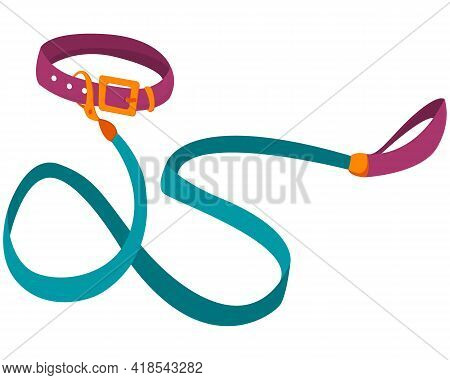 Leash For Pets. Stylish Purple Collar With A Blue Leash For Walking Pets. Pet Leash Isolated On Whit