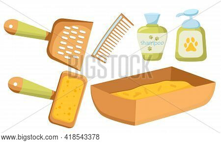 Isolated Images Of Pet Grooming Accessories With Dog And Cat Brushes, Pet Shampoos, Pet Tray. Vector