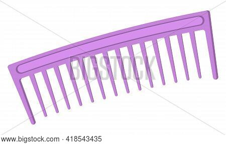 Hairbrush Isolated On White Background. Purple-toothed Comb. Comb For Pets. Vector Illustration Of A