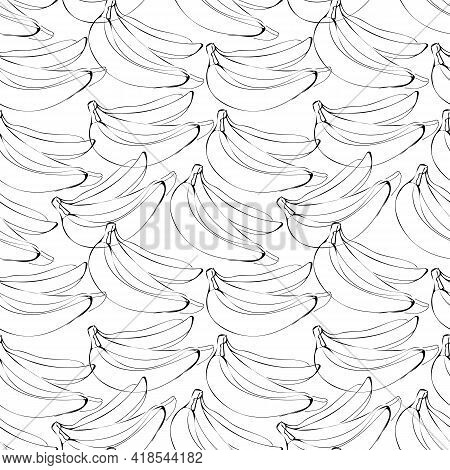 Vector Seamless Pattern With Illustration Of Bananas In Line Art Black Color On A White